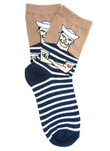Loves You Gemici Baskılı Çorap Lacivert